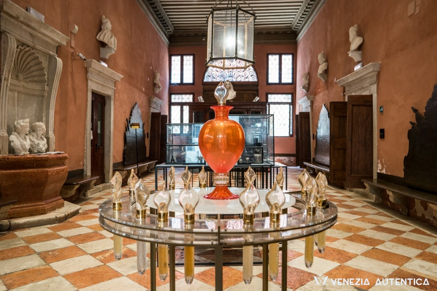 Entrance hall of Palazzo Mocenigo, perfume museum in Venice, Italy