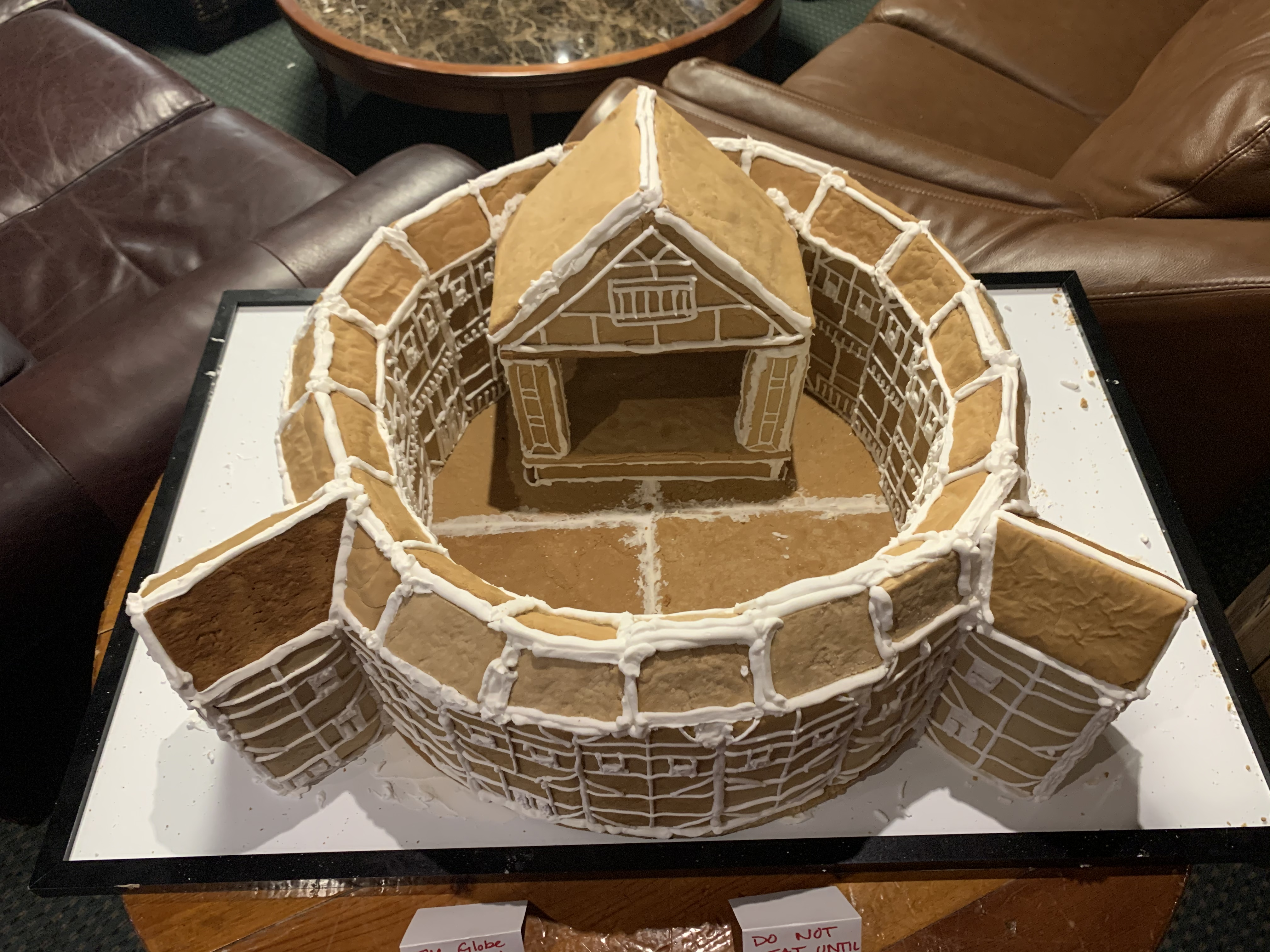 Gingerbread model of Shakespeare's Globe Theater