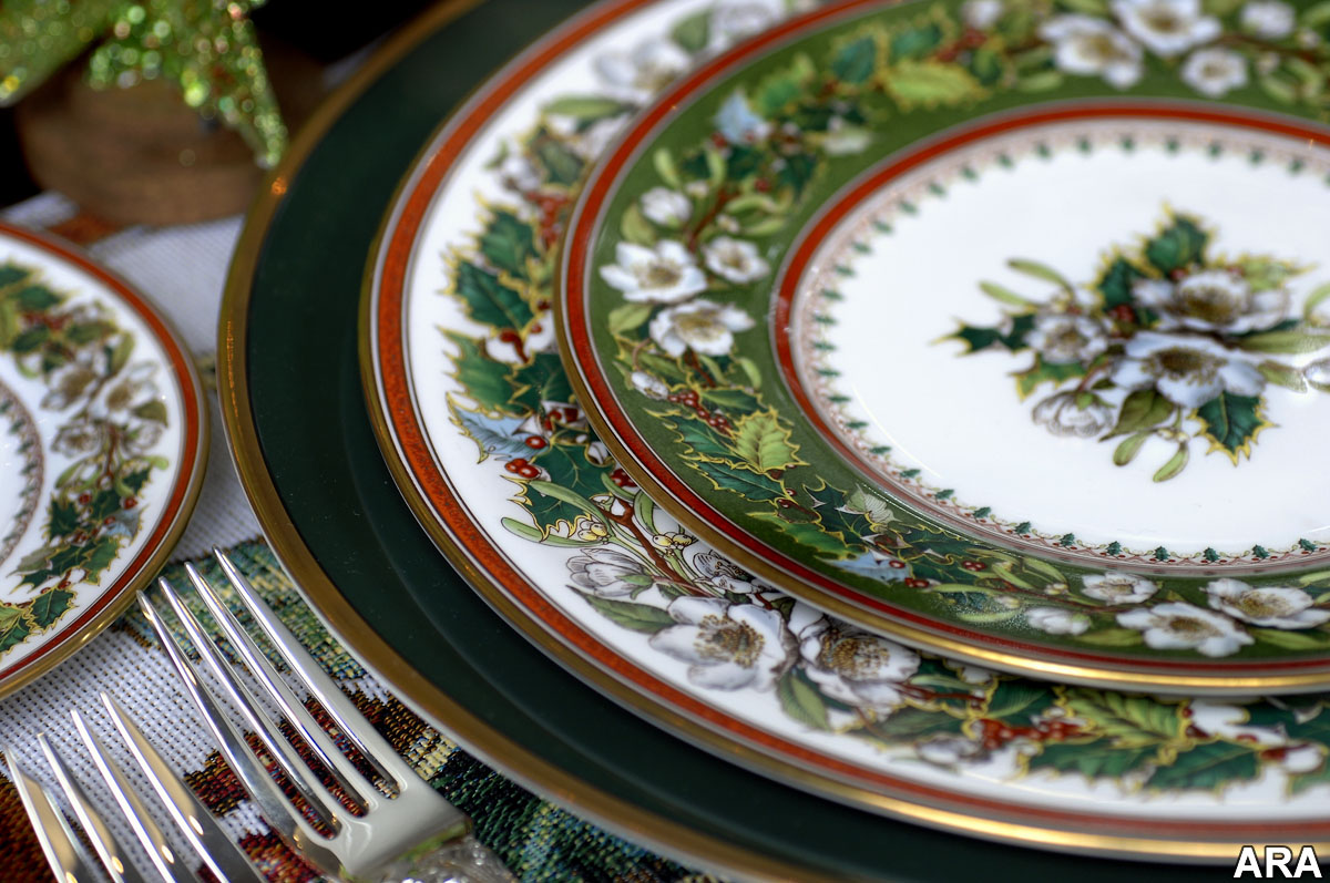 Dinner place setting of Spode Christmas Rose china