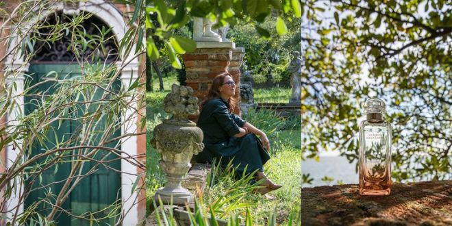 Photo collage of Venetian island garden and Hermes perfumer Christine Nagel