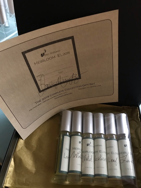 Complete set of Dawn Spencer Hurwitz' 2019 Heirloom Elixirs fragrance subscription