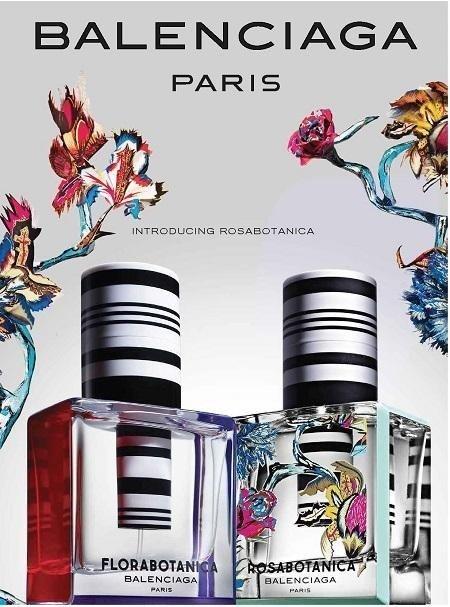 Bottles of Balenciaga fragrances Florabotanica and Rosabotanica