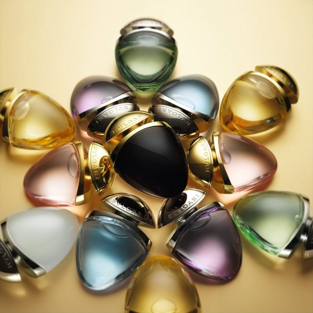 25 ml purse sprays of Bvlgari fragrances in jewel charms bottles.