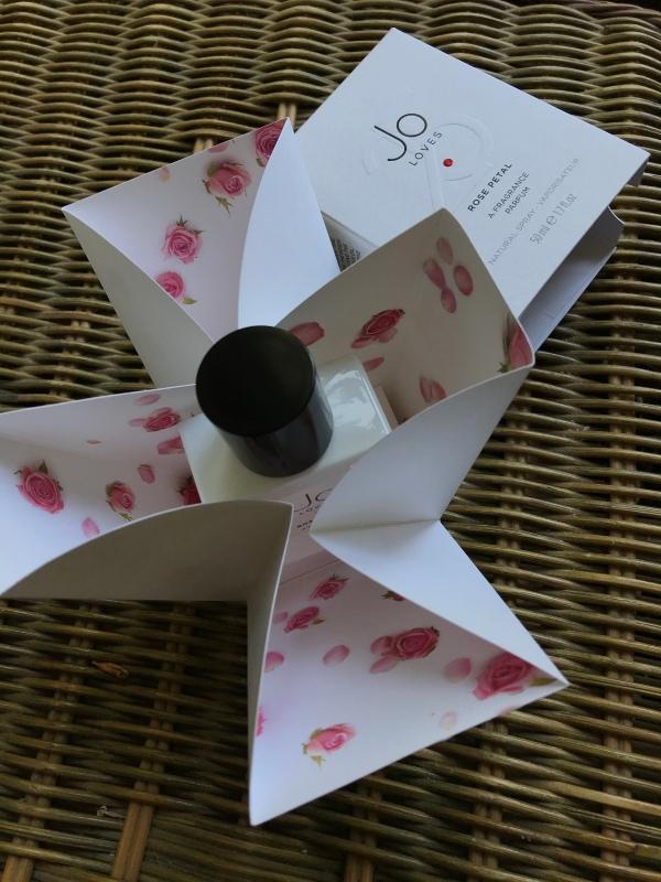 Bottle and box of Jo Loves fragrance Rose Petal 25