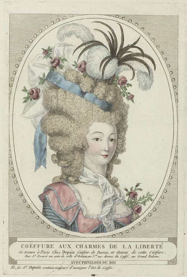 Illustration of fanciful 18th century French coiffure with roses.