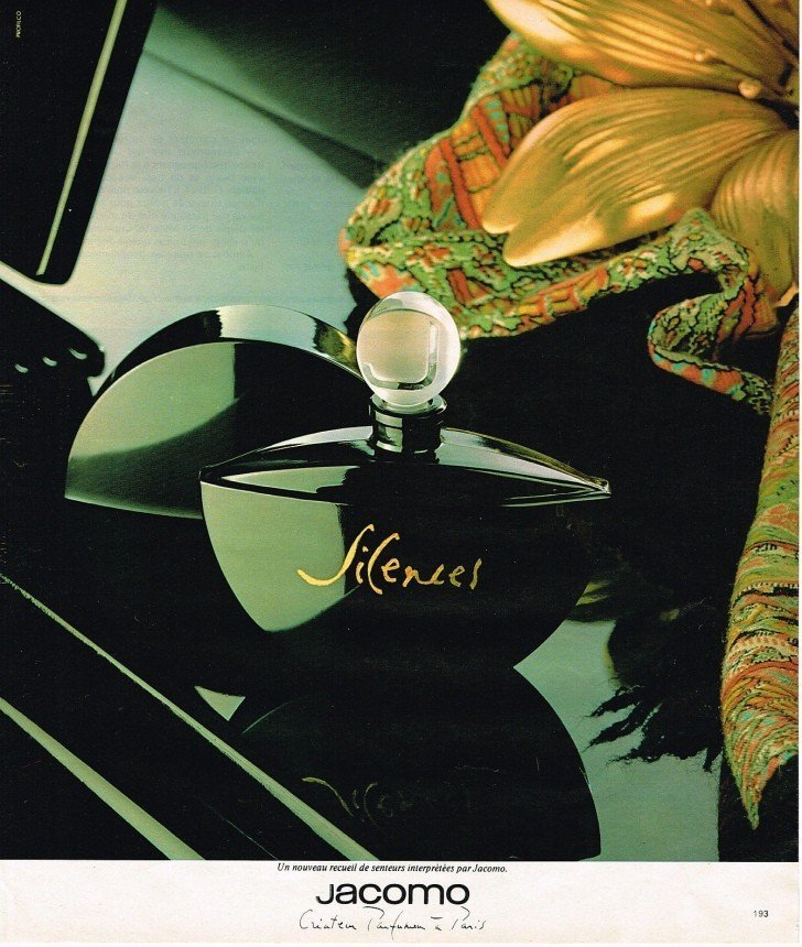 Magazine ad for fragrance Jacomo Silences