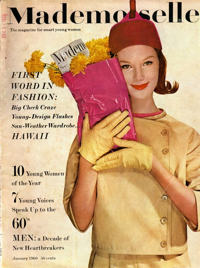 Cover of Mademoiselle magazine, girl in yellow dress with gloves and hat