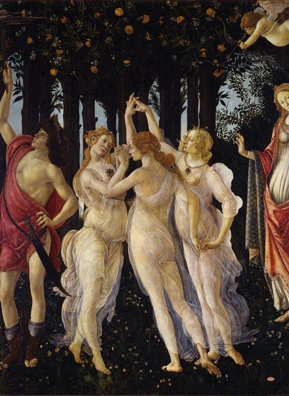 Three Graces dancing in springtime